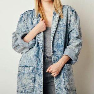 VTG 80s acid washed long jacket sz M